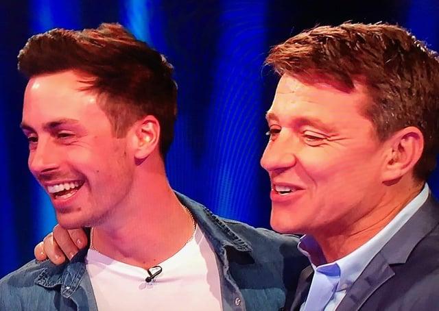 Melton man Ben Manship (left) pictured with host Ben Shephard on ITV gameshow, Tipping Point EMN-201112-171641001
