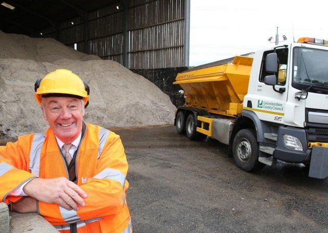County Councillor Trevor Pendleton at a Leicestershire gritting barn EMN-210129-163709001