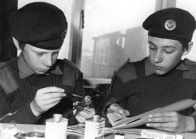 Members of the Melton ATC squadron making aircraft models in 1981 EMN-210903-091705001