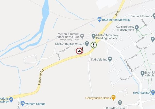 A graphic showing where traffic lights will be installed for three months on Leicester Road, MeltonIMAGE LEICS COUNTY COUNCIL HIGHWAYS EMN-210315-120050001