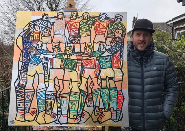 Ben Mosley's painting of Mike Tindall's all-time top Six Nations rugby XI which is being auctioned for the Matt Hampson Foundation EMN-210322-114715001
