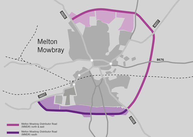 The route of the approved Melton Mowbray Distributor Road (MMDR), connecting north, east and south, and how it would join with the planned southern link section EMN-210323-160711001