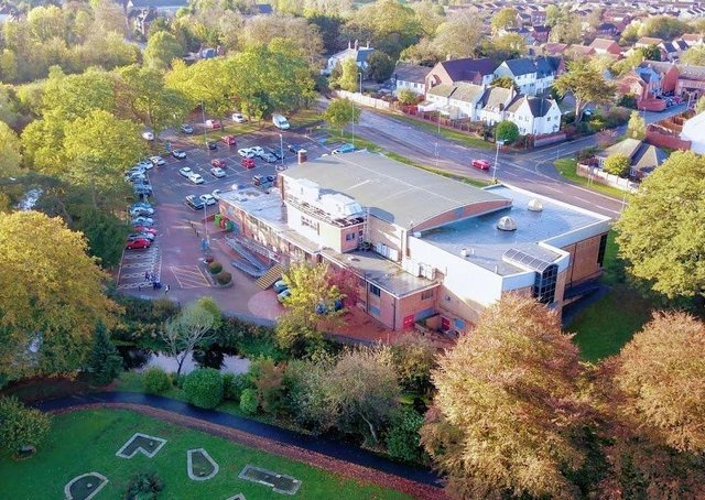 An aerial view of Waterfield Leisure Centre in MeltonPHOTO Mark @ Aerialview360 EMN-210323-182013001