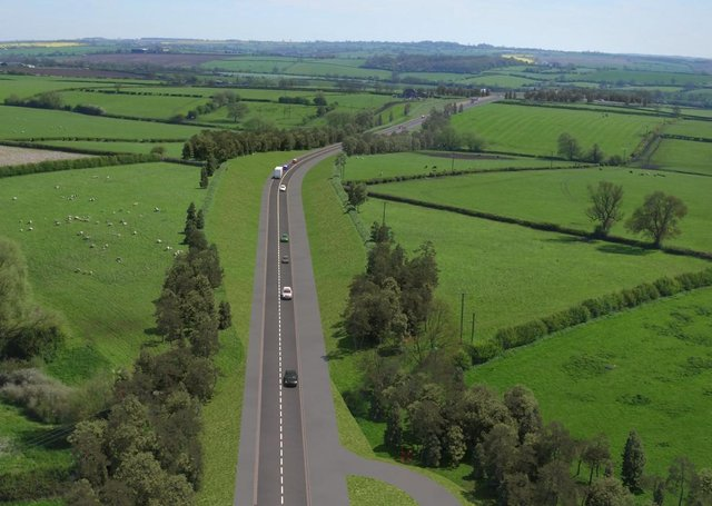 A still showing simulated drone footage of the planned Melton Mowbray Distributor Road (MMDR) EMN-210325-175512001