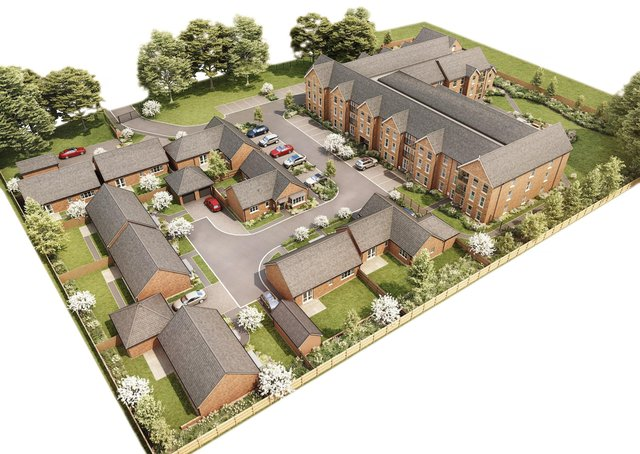 An aerial image showing what the Pine Gardens and Catherine Place retirement homes development, off Scalford Road in Melton, willl look like when it is finished EMN-210331-173632001