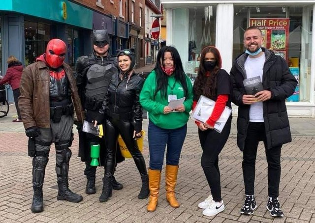 Superheroes join representatives of the Unlock Your You mental health charity at a recent event in Melton - they will be giving out Easter eggs to Melton families on Easter Monday EMN-210104-174124001