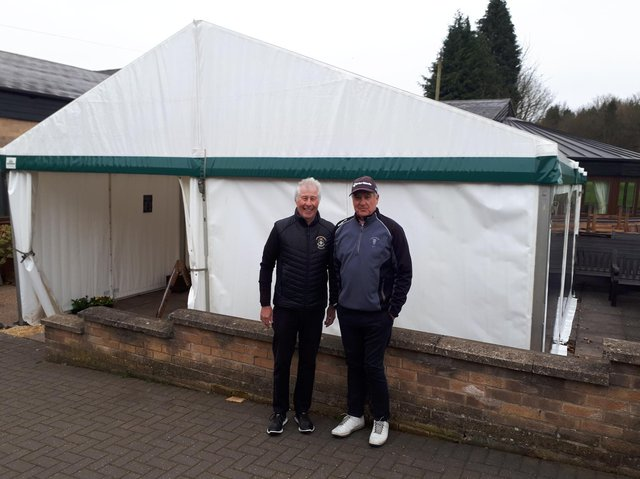 Chairman Adrian Stannard (left) with Steve Cullington with the new temporary marquee.
