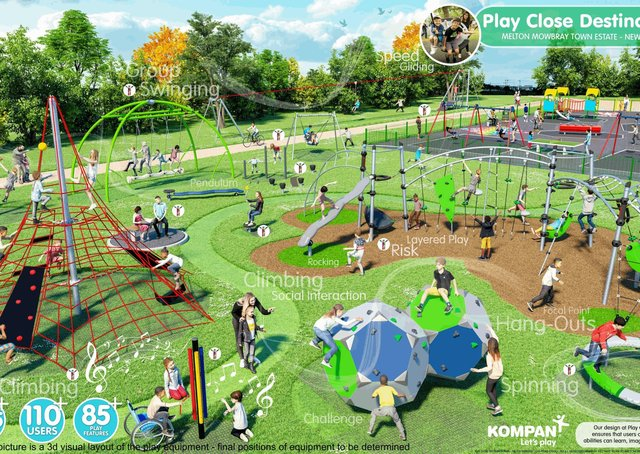 A graphic showing the planned destination play park to be built this summer in Melton's Play Park EMN-200203-154134001