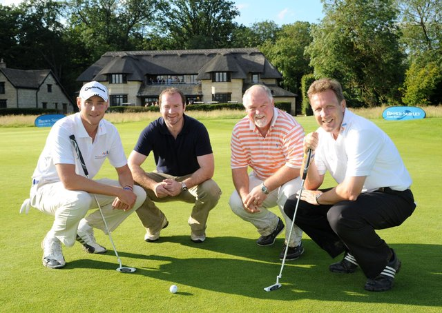 Pictured at Stapleford Park Hotel's golf course in the summer of 2012 for a fundraising tournament, from left, England cricketer Stuart Broad, Leicester Tigers rugby hero Geordan Murphy and former Test cricketers Mike Gatting and Chris Broad EMN-200903-182817001