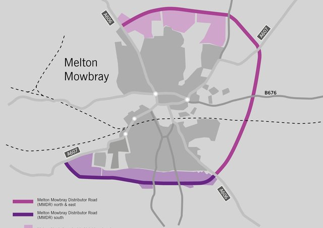 The route of the approved Melton Mowbray Distributor Road (MMDR), to the north and east, and how it would join with the planned southern link section EMN-200618-180953001