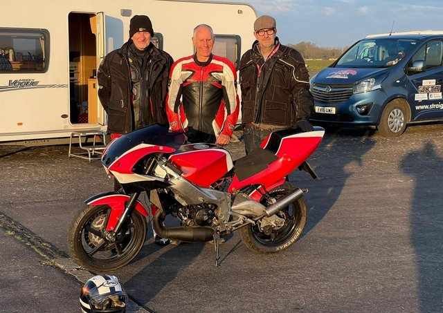 Whissendine motorcyclists, Ian Arnold, Patrick Bramman and Richard Scott, pictured before they claimed more land speed records, on the runway at Kendrew Barracks in Rutland EMN-210419-114220001