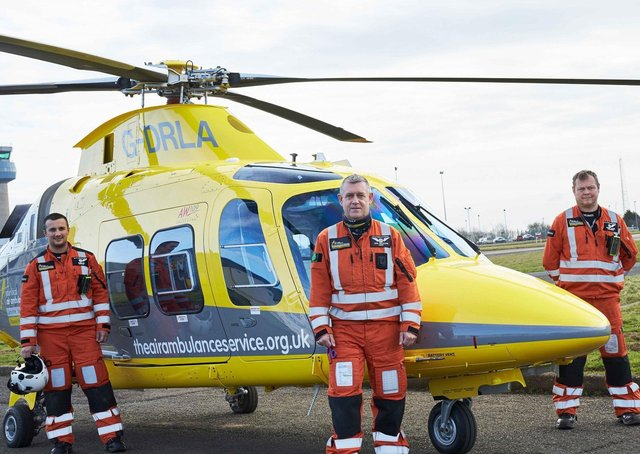 Crew members with the Derbyshire, Leicestershire& Rutland Air Ambulance (DLRAA) - an emergency landing needed to be made this week after a bird strike EMN-210423-114426001