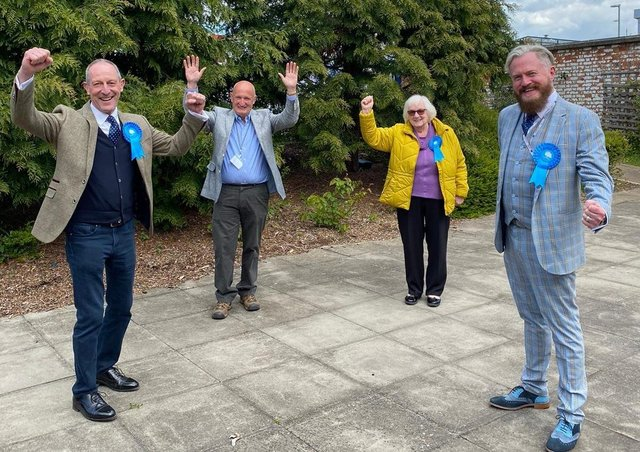 The elected members of Leicestershire County Council in the four Melton area divisions celebrate their success this afternoon, from left, Bryan Lovegrove, Joe Orson, Pam Posnett and Mark Frisby EMN-210705-141305001