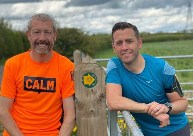 Karl Donaghey (left) and his friend James Bentley, who are preparing to run the Leicestershire Round for mental health charities EMN-210519-135910001