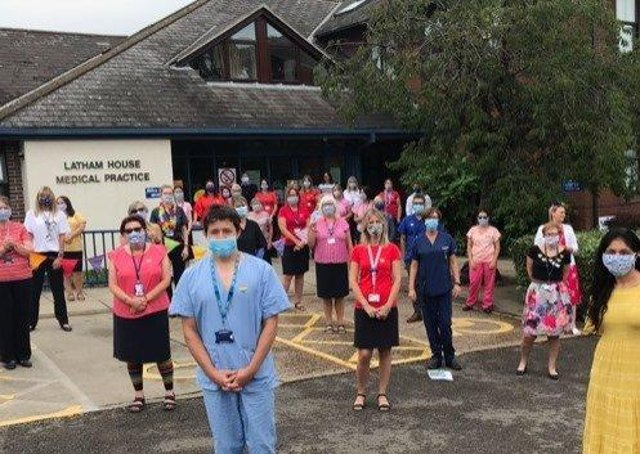 Staff at Latham House Medical Practice pictured last summer in the first months of the coronavirus pandemic EMN-210514-141121001