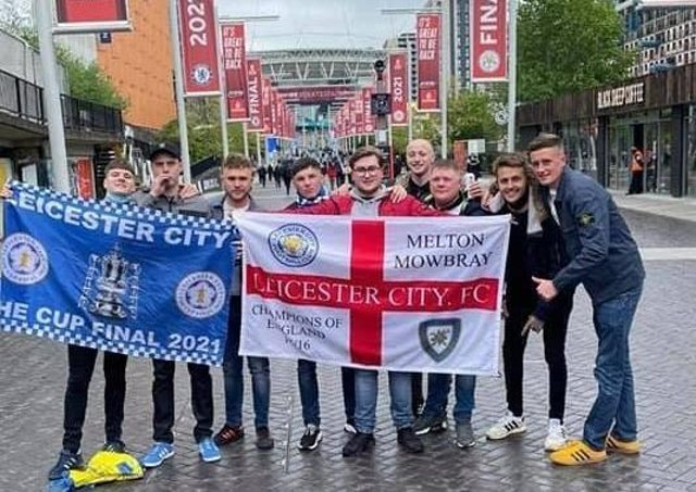 Melton friends Tom Harris, Tommy Henfrey, George and Tom Ingle, Ollie Hudson, Kyle Warrington, Alfie Farmer and Sam Bullimore pictured outside Wembley before they cheered Leicester City to FA Cup glory on Saturday EMN-210517-152918001