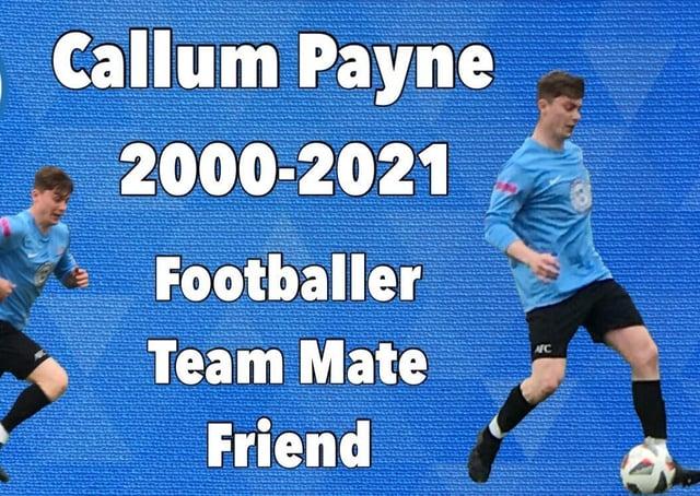 Asfordby FC's tribute to Callum Payne on social media EMN-210518-122011001