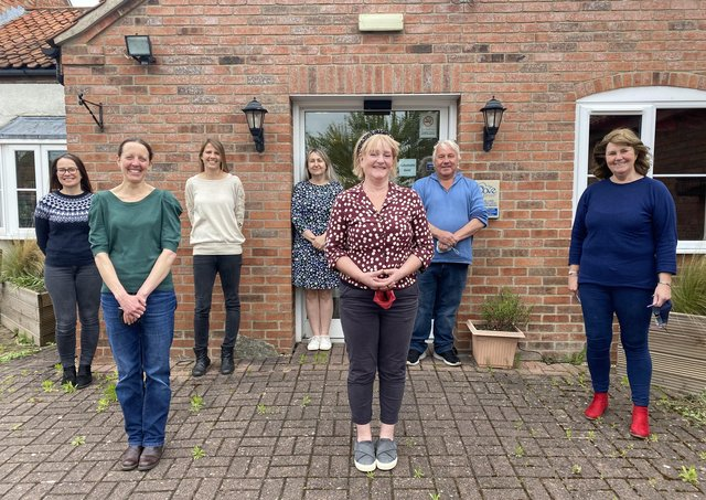 Staff at Dove Cottage Hospice, at Stathern, prepare to reopen, from left, back row - Ingrid (chef), Dora (fundraiser), Nicola (retail manager), Gordon (volunteer), Chris (chief executive); front row - Natasha (admin), Nicola (nurse manager) EMN-210521-104130001