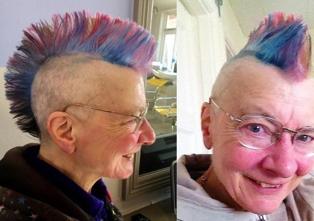 Frances Levett wth her eye-catching new mohican hairstyle which she hopes will raise thousands of pounds for her church EMN-210524-115539001