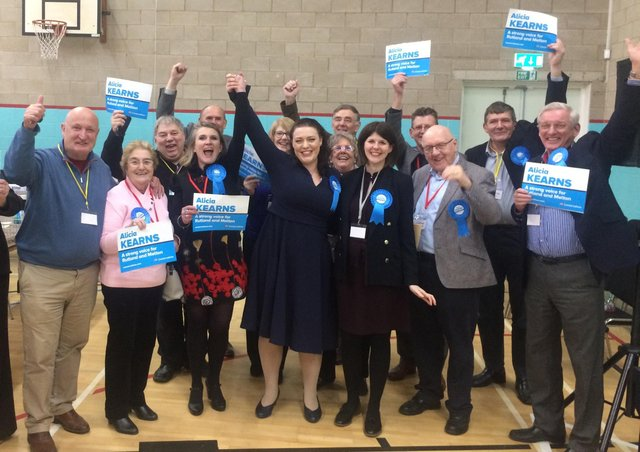 Rutland and Melton MP Alicia Kearns celebrates with Conservative supporters shortly after the result was declared at Melton Sports Village in December 2019 EMN-210806-090057001