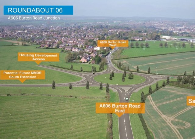 A computer-generated drone flight over the proposed Melton Mowbray Distributor Road (MMDR) showing where the road would end, at a new junction with the A606 Burton Road, and a link with a prroposed south section