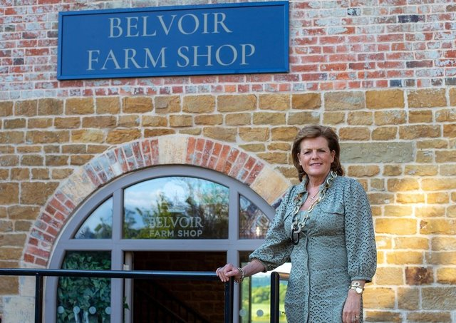 The Duchess of Rutland pictured outside the new Belvoir Estate farmshop at the Engine Yard EMN-210614-080334001