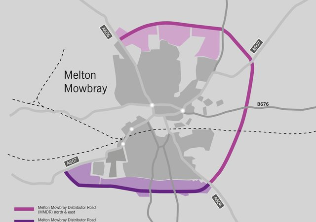 The route of the approved Melton Mowbray Distributor Road (MMDR), connecting north, east and south, and how it would join with the planned southern link section EMN-210614-113312001