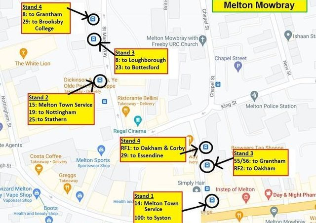 Changes to changes to the departure stands for Centrebus services in Melton Mowbray which come in on Monday Junes 21 EMN-210615-134602001