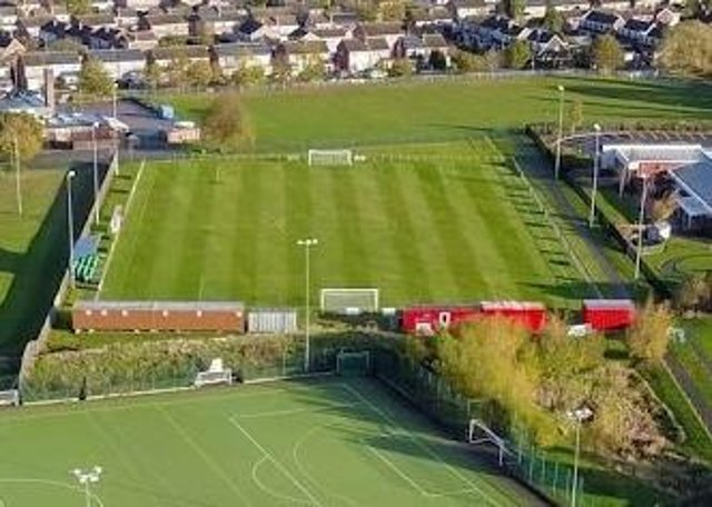 An aerial view of Melton Town FC's pitch at Melton Sports VillagePHOTO Mark @ Aerialview360 EMN-210622-100655001