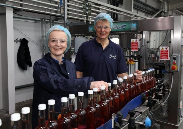 International Trade Secretary Liz Truss pictured with Belvoir Farm owner, Pev Manners, on a visit to the Bottesford businessPHOTO Glen Minikin Photography Limited EMN-210628-163349001