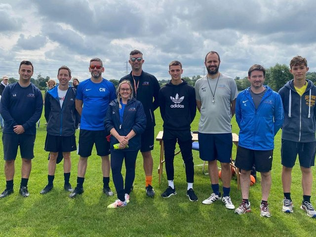 The Asfordby Academy coaches with Leicester City's Luke Thomas.