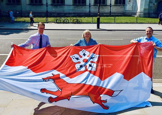 The new Leicestershire flag being displayed in London today EMN-210719-124754001