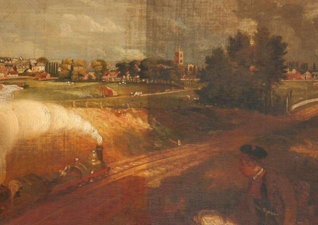 The mystery painting of steam train travel in Melton which forms part of the new Full Steam Ahead railway exhibition at Melton Carnegie Museum EMN-210722-102519001