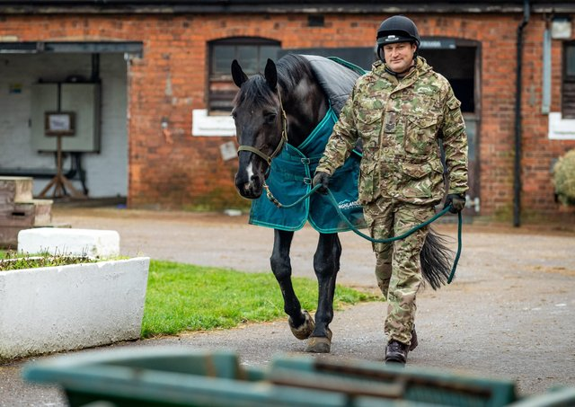 Corporal of The Horse Andrew Mancey exercising Animals as part of the Christmas duties within the Defence Animal Training Regiment in Melton Mowbray last yearPhotographer:Cpl Paul Watson  / MoD Crown EMN-210927-124814001